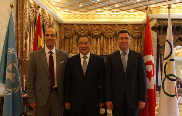 李若弘在和苑博物馆会见突尼斯奥委会主席麦赫雷兹