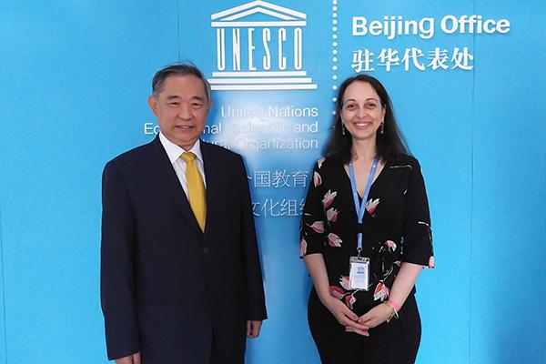 """李若弘与联合国教科文组织驻华代表处合作""""一带一路"""""""