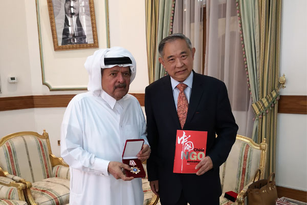 Li Ruohong Held Talks with Prince Sheikh Faisal of Qatar at the Prince Mansion