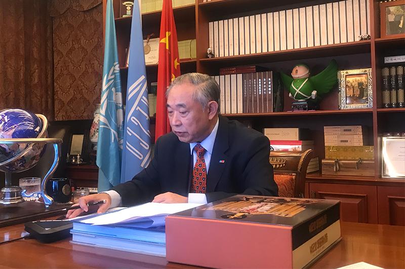 李若弘在纪念联合国成立75周年线上艺术研讨会视频发言